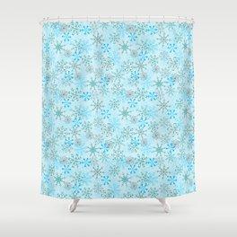 Christmas, Snow Flurries in Light Blue Shower Curtain