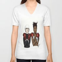 basquiat V-neck T-shirts featuring Warhol Basquiat by Mackenzie Art