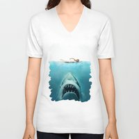 jaws V-neck T-shirts featuring JAWS by Smart Friend