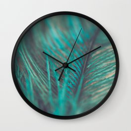 Turquoise Feather Close Up Wall Clock