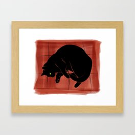 Olivia, the cat on the porch Framed Art Print