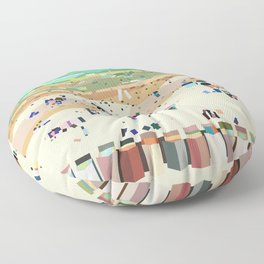 Geometric Brighton Beach bathing boxes, Melbourne, Australia Floor Pillow