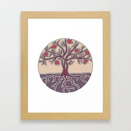Pomegranate Tree of Life in Mauve and Warm Tones Framed Art Print