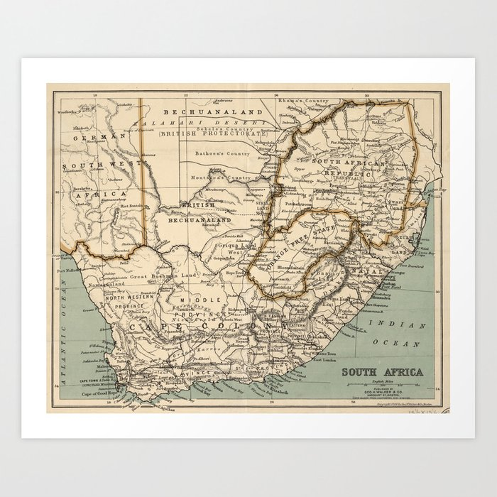 Vintage Map of South Africa (1889) Art Print by bravuramedia