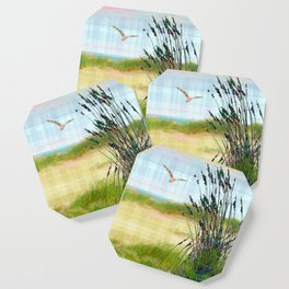 Plaid Beachscape with Seagrass Coaster