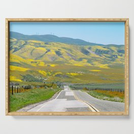 Leading lines of Highway 58 going through Carrizo Plain National Monument Serving Tray