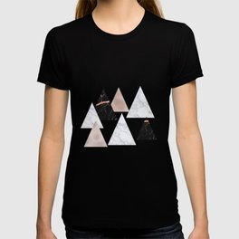 Marble rose gold geometric triangles T-shirt