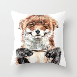 """ Morning fox "" Red fox with her morning coffee Throw Pillow"
