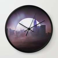 skyline Wall Clocks featuring Skyline by Frank Kupshik