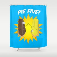 pie Shower Curtains featuring Pie Five! by Milos Cakovan