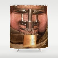 bdsm Shower Curtains featuring funny painting Chastity cock dick key penis submission cage BDSM fetish master Dom dominatrix fuck by Velveteen Rodent