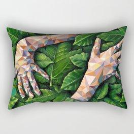 Hands Through Leaves - Brandie Lee - Geometric Shapes - Digital Garden of Eden Rectangular Pillow