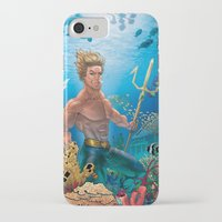 aquaman iPhone & iPod Cases featuring Aquaman Black Lagoon (Sun Kissed Water Version) by Brian Hollins art