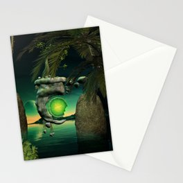 The flying rock with clock Stationery Cards