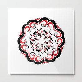 Floral Black and Red Round Ornament Metal Print