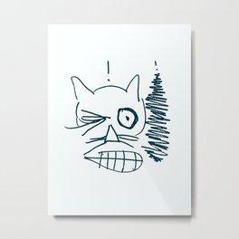 Startled One-Eyed Cat Metal Print