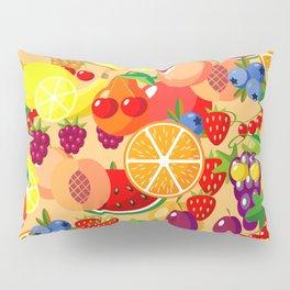 Flat fruits seamless pattern. Flat Illustrations of watermelon, banana, cherry, apple Pillow Sham