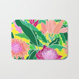Bird of Paradise + Ginger Tropical Floral in Canary Yellow Bath Mat