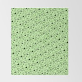 Cryptid Pattern: Black on Green Throw Blanket