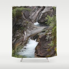 Norwegian waterfall photo, landscape photos, pothole, Instant download, Fine art gifts  Shower Curtain
