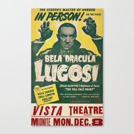 Dracula, Bela Lugosi, vintage poster Canvas Print
