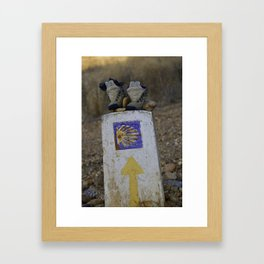 Camino Route Marker and Old Boots Framed Art Print