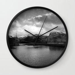 Scottish Highlands Ben Nevis from Caledonian Canal B & W Wall Clock