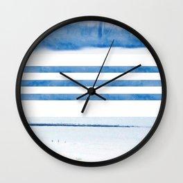 nautical stripes: blue Wall Clock