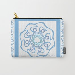Hope Mandala with Border - Blue White Carry-All Pouch