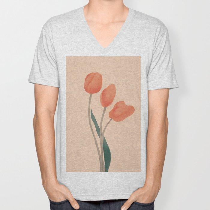 Orange Tulips Unisex V-Neck