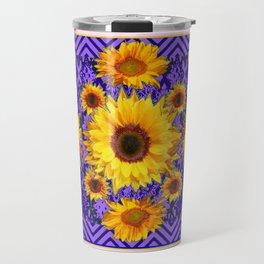 Grey Art Lilac Color & Yellow Sunflowers Garden art Travel Mug