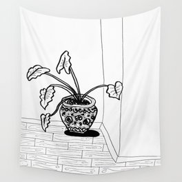 Black and White Elephant Ear Wall Tapestry
