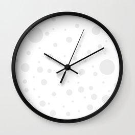 Mixed Polka Dots - Pale Gray on White Wall Clock