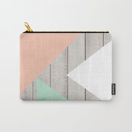 Modern Teal Peach Triangles Color Block on Wood Carry-All Pouch