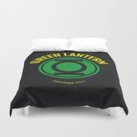 green lantern Duvet Covers featuring GREEN LANTERN by Alberto Lamote de Grignon