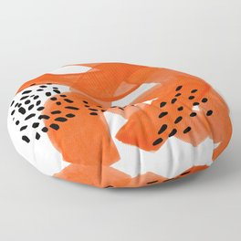 Fun Abstract Minimalist Mid Century Modern Orange Watercolor Ribbons With Black Ink Patterns Floor Pillow