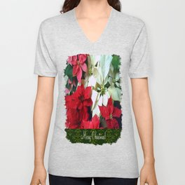 Mixed color Poinsettias 1 Merry Christmas S6F1 Unisex V-Neck