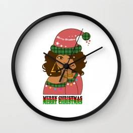 Merry christmas colored girl with santa hat Wall Clock