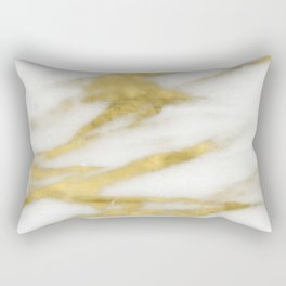 Marble - Gold Marble on White Pattern Rectangular Pillow