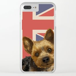 Union flag and Puppy Clear iPhone Case