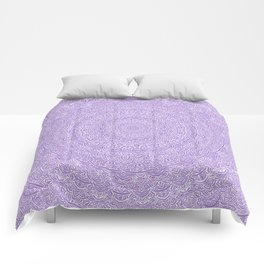 The Most Detailed Intricate Mandala (Violet Purple) Maze Zentangle Hand Drawn Popular Trending Comforters
