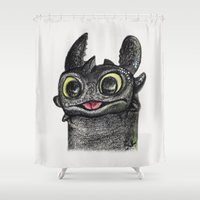 toothless Shower Curtains featuring Dragon Toothless by Pendientera