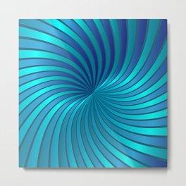 Blue Spiral Vortex G213 Metal Print