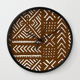 Line Mud Cloth // Brown Wall Clock