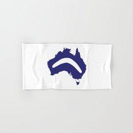 Australia Silhouette With Boomerang Hand & Bath Towel