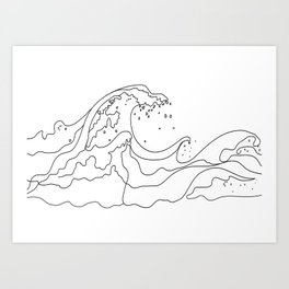 Minimal Line Art Ocean Waves Art Print