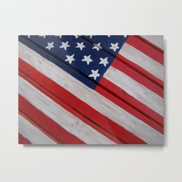 Wooden Flag Closeup Metal Print