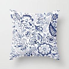 Folk Floral Indigo Throw Pillow