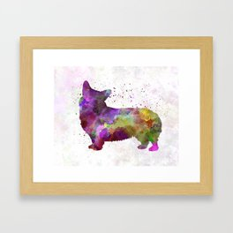 Welsh Corgi Cardigan in watercolor Framed Art Print