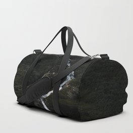 Dark forest with waterfall on the side of a mountain in Norway - Landscape Photography Duffle Bag